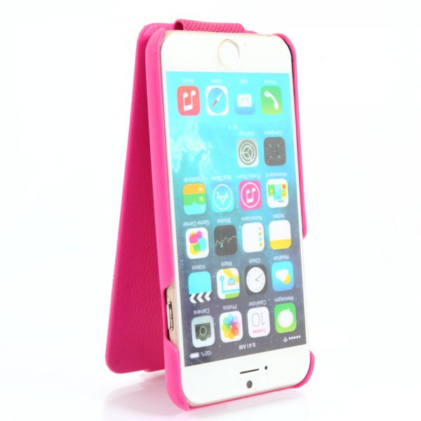 Up-Down Flip Embossing Leather Protective Case for iPhone 6/6S Rose Red
