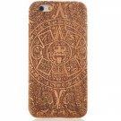 Maya Totem Pattern Detachable Wood Back Case for iPhone 6 Plus/6S Plus Brown