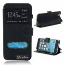TPU Transparent Back Cover Leather Case with Double Viewing Windows for iPhone 6/6S Black