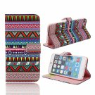 Red National Style Printed Pattern TPU & Leather Case with Card Slot for iPhone 6 Plus/6S Plus