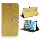 Rhinestoned Metal Magnetic Clasp Glitter PU Leather Case for iPhone 6 Plus/6S Plus Golden