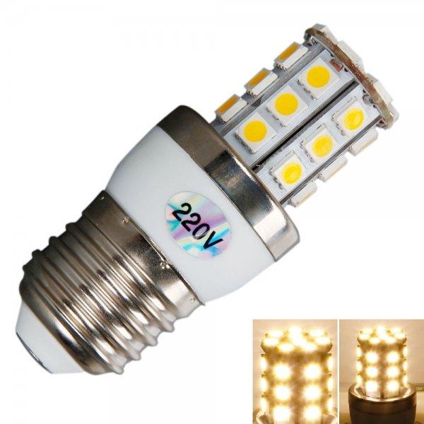 E27 5W 450LM 30LED 3000K Warm White Light Corn Light with Silver Side (220V)