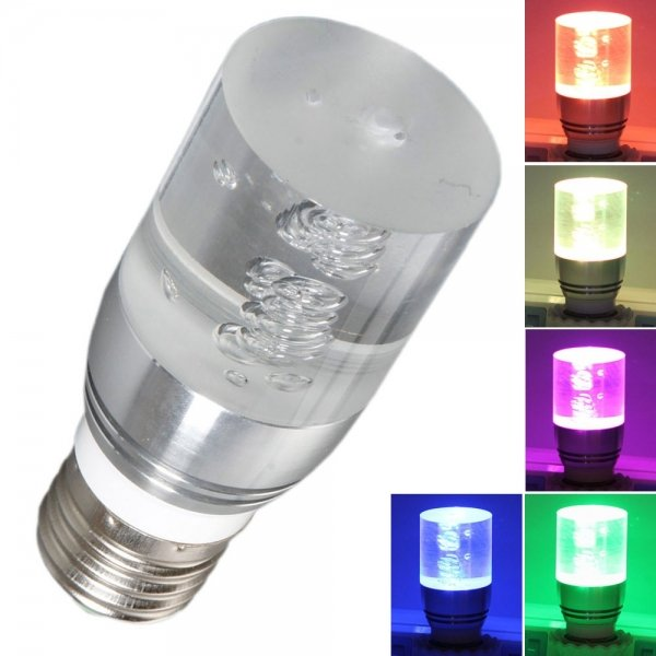 E27 3W Silver Lamppost LED RGB Crystal Light With Remote Control(85-265V)