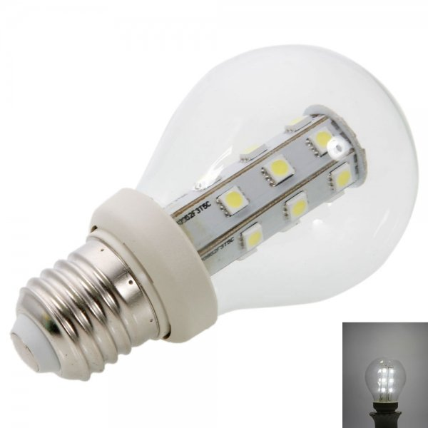 E27 3W 21LED 180LM SMD5050 6000-6500K White LED Light Ball Bulb (220V)