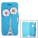 Eiffel Tower Pattern RhinestoneMagnetic Clasp PU Leather & PC Case for iPhone 6/6S Blue(4.7