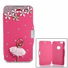 Dancing Girl Pattern Rhinestone Magnetic Clasp PU Leather & PC Case for iPhone 6/6S Red(4.7