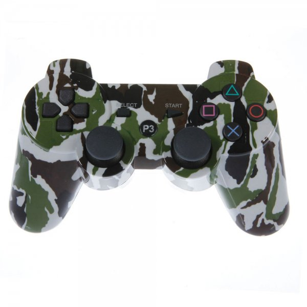 Wireless Bluetooth Plastic Controller with General Keys for Sony PS3 Camouflage Green + Black