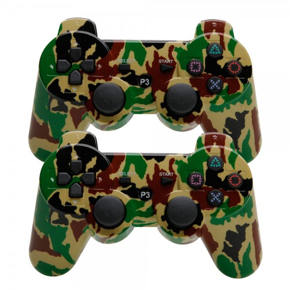2Pcs Wireless Bluetooth Controller for Sony Playstation 3 PS3 Camouflage Yellow + Green