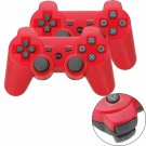 2Pcs Wireless Bluetooth Controller for Sony PlayStation 3 PS3 / PC ( Red + Black )