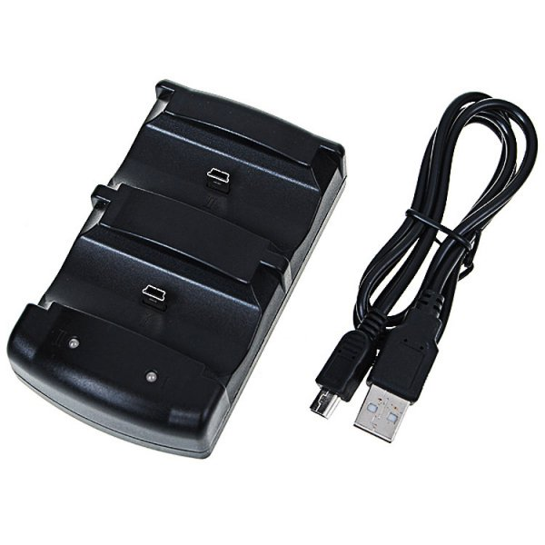 020603 Dual Controller USB Charging Cradle/Dock for PS3 Black