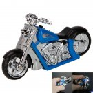 Motorcycle Style Refillable Windproof Butane Cigarette Lighter Blue