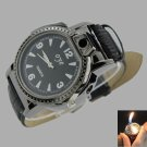 Leather Band Watch Style Refillable Butane Cigarette Lighter & Watch Black