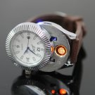 Electronic Rechargeable Multifunctional Wrist Watch Lighter White & Blue