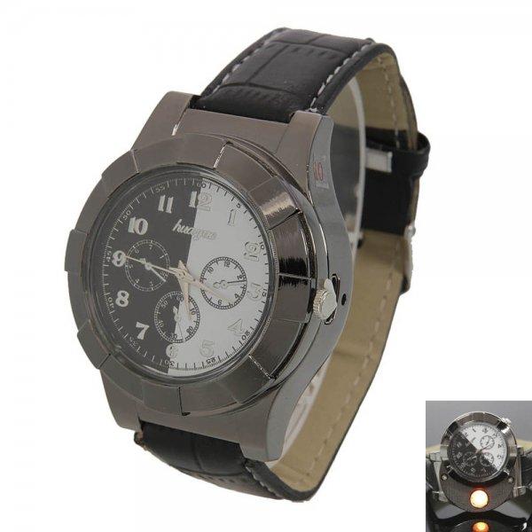 Fashion Creative Heating Wire Wrist Watch Cigarette Lighter Black & White
