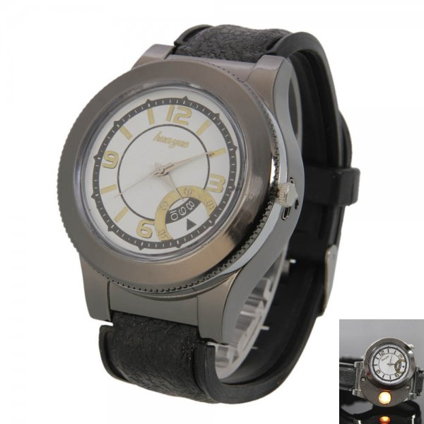 CT-8668 2in1 Rechargeable Wrist Watch Heating Wire Cigarette Lighter Back Golden