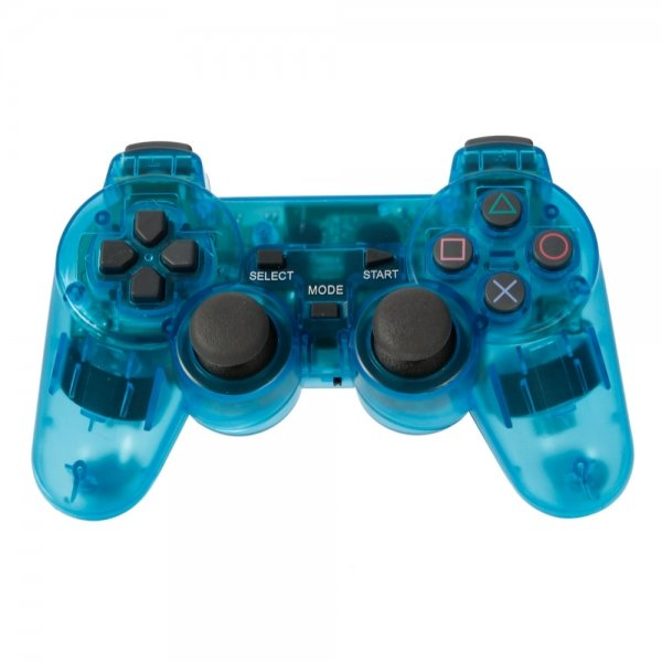 2.4GHz Wireless Controller with Receiver for PC PS2 Blue & Transparent
