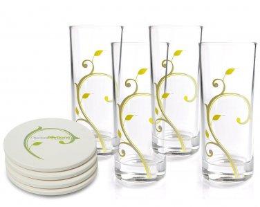 Stylish 10oz Portion Control Beverage Glasses with Discrete 4 & 8oz Guiding Lines (Pk 4)