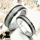 His Her Black Matching Wedding Titanium Rings 010