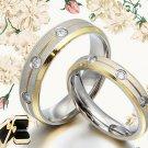 18K Gold Groom&Bride Matching Diamond Wedding Engagement Titanium Rings Set 01