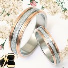 BOX 18K Rose Gold Groom&Bride Matching Wedding Engagement Titanium Rings Set 30