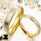 Groom/Bride 18K Gold Matching Wedding Engagement Couple Titanium 2 Rings Set 80