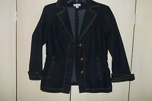 Joan Rivers Sz small Black Denim Blazer Jacket W/ Gold Buttons Long Sleeve