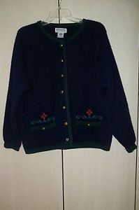 KILKENNY Woman Irish Wool Cardigan Sweater Jacket Dk Blue Small