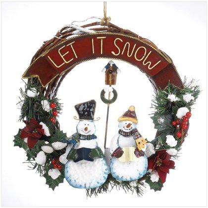 SNOWMAN WOOD/METAL WALL WREATH