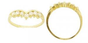 14 K Gold Fancy Created Diamond Wave Ring