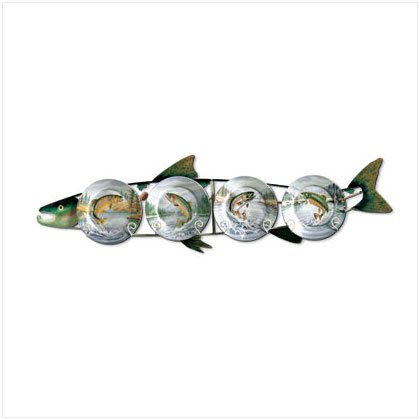 5 PC TROUT PLATES & METAL RACK
