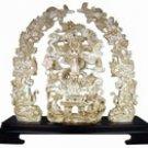 Large Antique Ivory Finish Engraved Dragon Sculpture