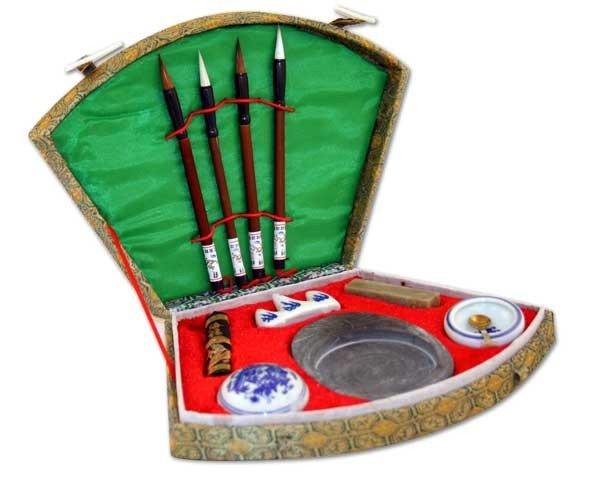Chinese Calligraphy Brush Pen, Seal & Ink Set