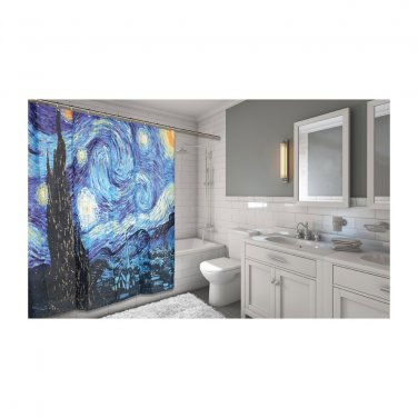 Carnation Home Fashions Starry Night Fabric Shower Curtain(2 DAY SHIPPING)