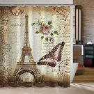 Uphome 72 X 72 Inch Retro Vintage Paris Eiffel Tower Waterproof Shower Curtain
