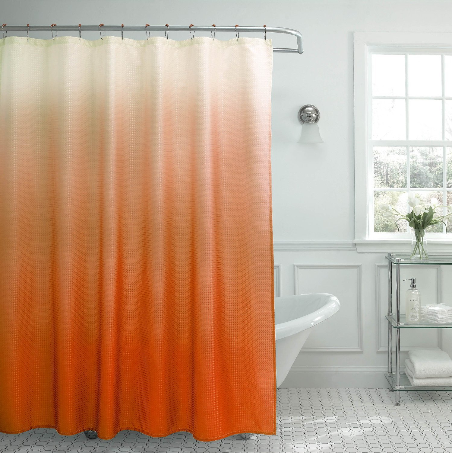 ombre waffle weave shower curtain orange 2 day shipping