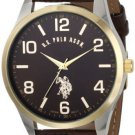 U.S. Polo Assn. Classic Men's Watch with Brown Faux-Leather Strap (2 DAY SHIPPING)