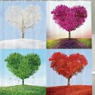 Heart Shaped Colorful Tree Four Season Fabric Shower Curtain