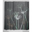 InterDesign Thistle Fabric Shower Curtain, 72 x 72-Inch, Gray/Mint
