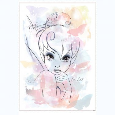 Tinkerbell I Believe in Fairies Tink Watercolor Giant Wall Decal (2 DAY SHIPPING)