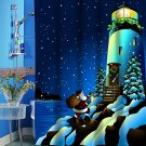 Santa's Secret Lighthouse Christmas Fabric Shower Curtain (2 DAY SHIPPING)