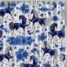 Blue Painted Horses Blue and White Shower Curtain (2 DAY SHIPPING)