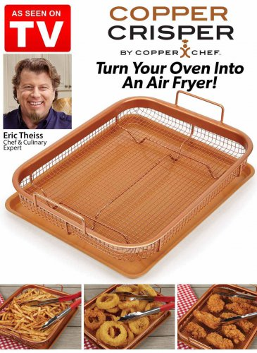 2PC. Copper Crisper By Copper Chef Oven Air Fryer Pan (2 DAY SHIPPING)
