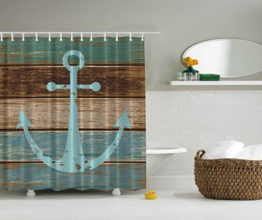 Nautical Anchor Rustic Wood  Shower Curtain (2 DAY SHIPPING)