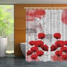 Red Poppies Flower Shower Curtain (2 DAY SHIPPING)
