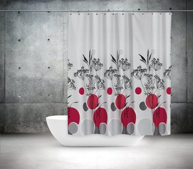 Multicolor Polka Dots Floral Shower Curtain 72 x 78 In. (2 DAY SHIPPING)