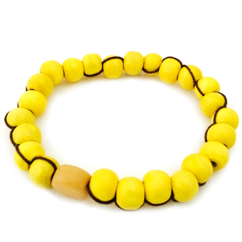 yellow wood bead bracelet