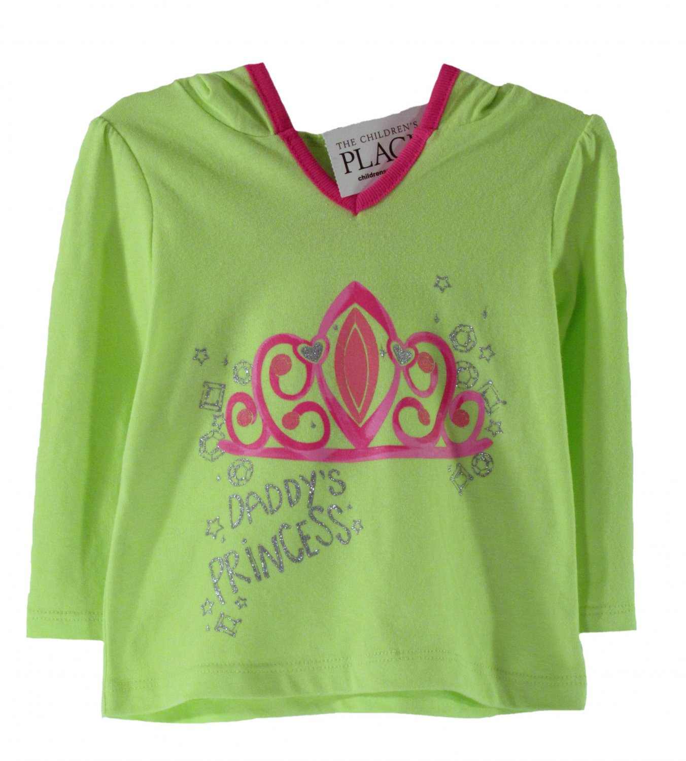 The Children's Place Infant Girls Lily Pad Green Daddy's Princess Pullover Hoodie 9 - 12 Months