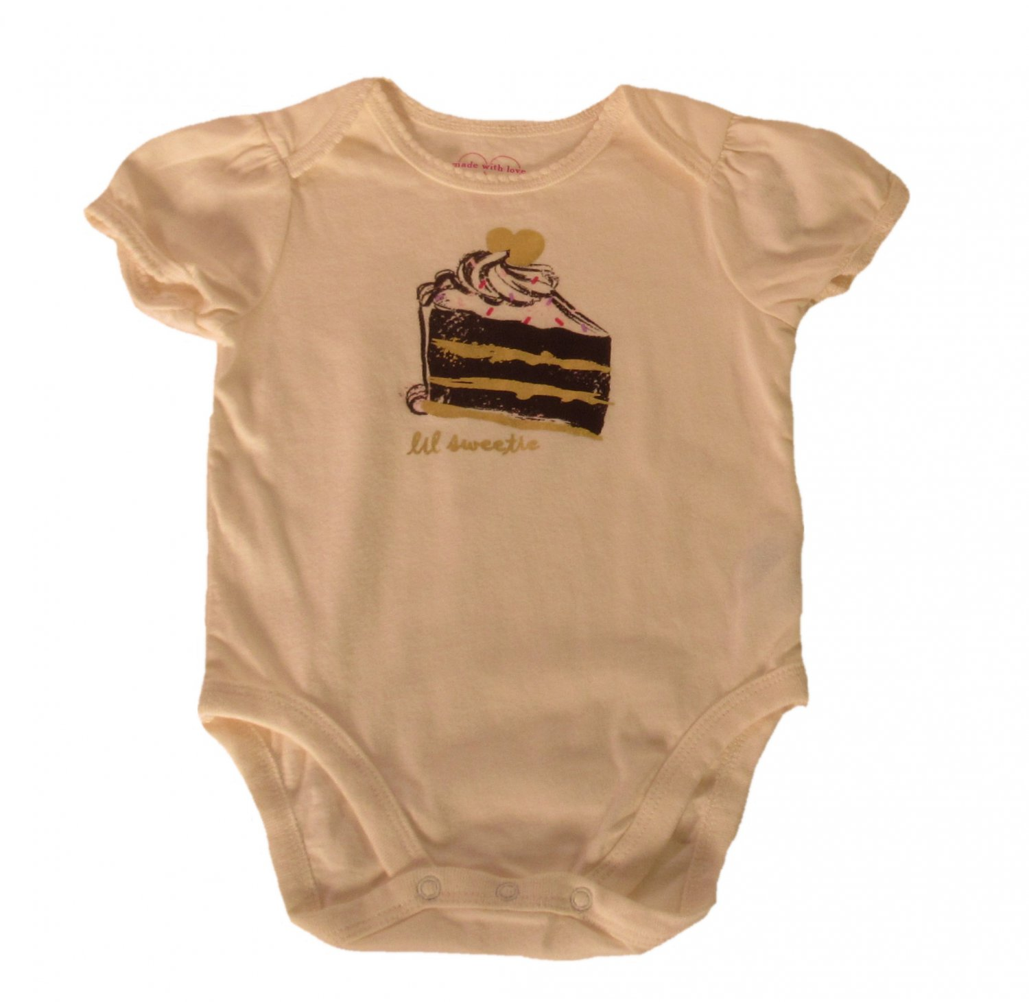 The Children's Place Infant Girls Ivory Lil Sweetie Short Sleeve Bodysuit 3 - 6 Months