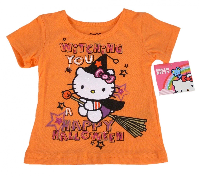 Hello Kitty Infant Girls Orange Halloween Short Sleeve T Shirt 12 Months