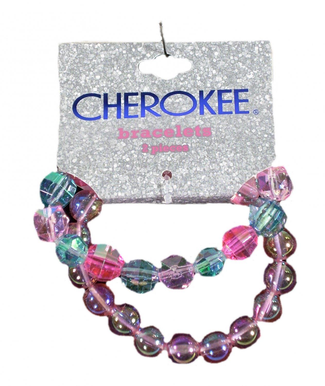 Cherokee Kid Girls Bead Stretch Slip On Bracelets 2 pc